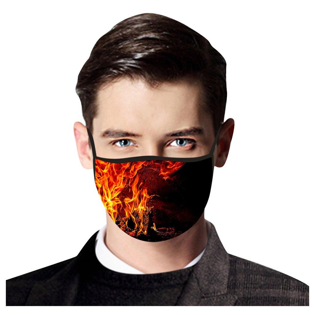 Модная Маска для лица с огненным принтом для мужчин, Многоразовая защитная Маска для рта, моющиеся маски для рта, Тканевые Маски