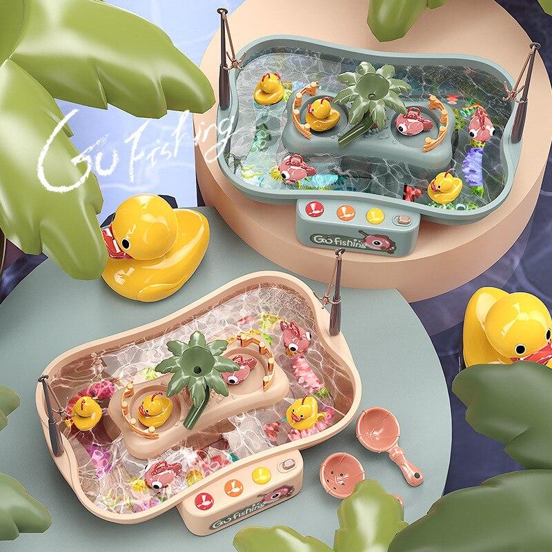 2021 ילד צעצוע מגנטי דיג מוסיקה חשמלית זרימת דיג ברווז דיג פלטפורמת מים לשחק משחק צעצועים לילדים מתנה