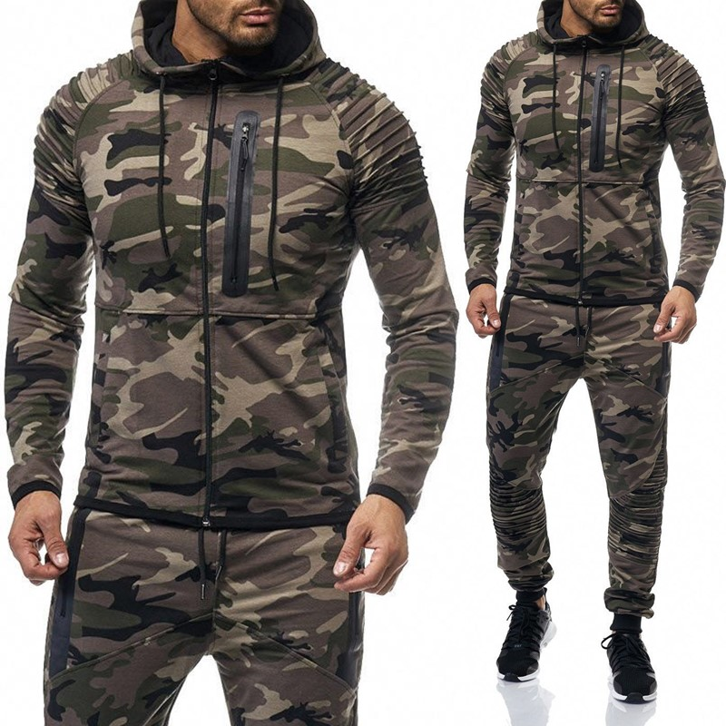 ZOGAA Men's Camouflage Tracksuit Hoodies+Sweatpants 2 Piece Sports Suit Large Size Fashion Sportswear Suit Casual Tracksuit Men