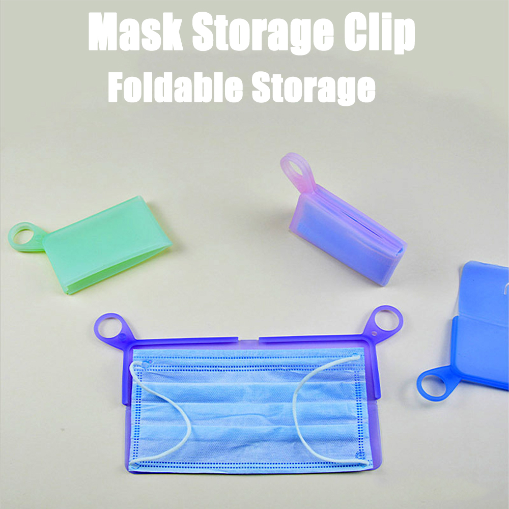 1PC Silicone Flat Type Mask Storage Box Mask Temporary Clip Dust-proof Pollution-proof Security Mask Holder Bags Artifact