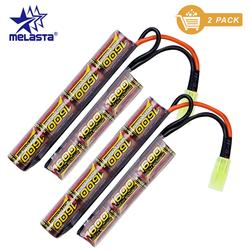 Melasta 7S 2/3A 2Pack 8.4v 1600mAh NIMH Butterfly NunChuck Battery Pack with Mini Tamiya Connector for Airsoft Guns AK AEG'S