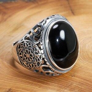 Image 2 - Naprawdę twarde 925 Sterling Silver czarny pierścień mężczyźni Vintage wydrążone kwiaty pierścienie otwarty naturalny onyks kamień duży owalny kształt biżuteria męska
