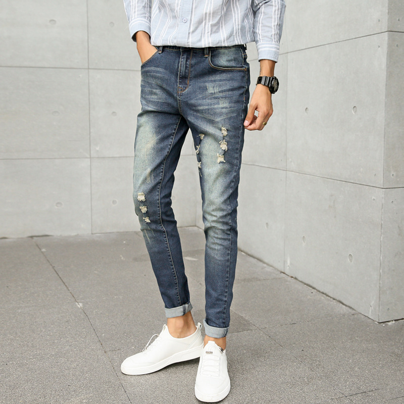 2019 Autumn & Winter New Style Trend Elasticity Jeans Teenager Students' Pants Korean-style Women's With Holes Literature And Ar