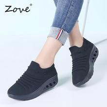 Zove 여성 운동화 신발 플랫 슬립 플랫폼 신발 통기성 메쉬 워킹 운동화 숙녀 캐주얼 크리퍼 로커 가을 신발