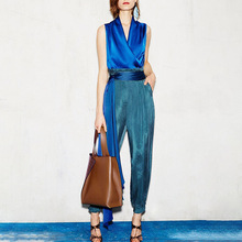 OUSHANG 2020 contrast color fashion two-piece suit satin V-neck sleeveless top high waist lace-up pencil pants suit female