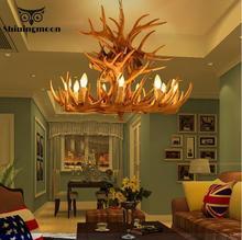 American Country Retro Antler Pendant Lights Modern Living Room Restaurant Bar Pendant Lamp Industrial Lamp Resin Deer Lighting