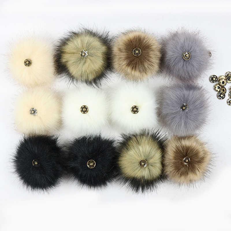 Coloré 8cm fourrure Pompon renards fourrure Pompon pour femmes chapeau fourrure Pom Poms pour chapeaux casquettes pour bonnet tricoté accessoire
