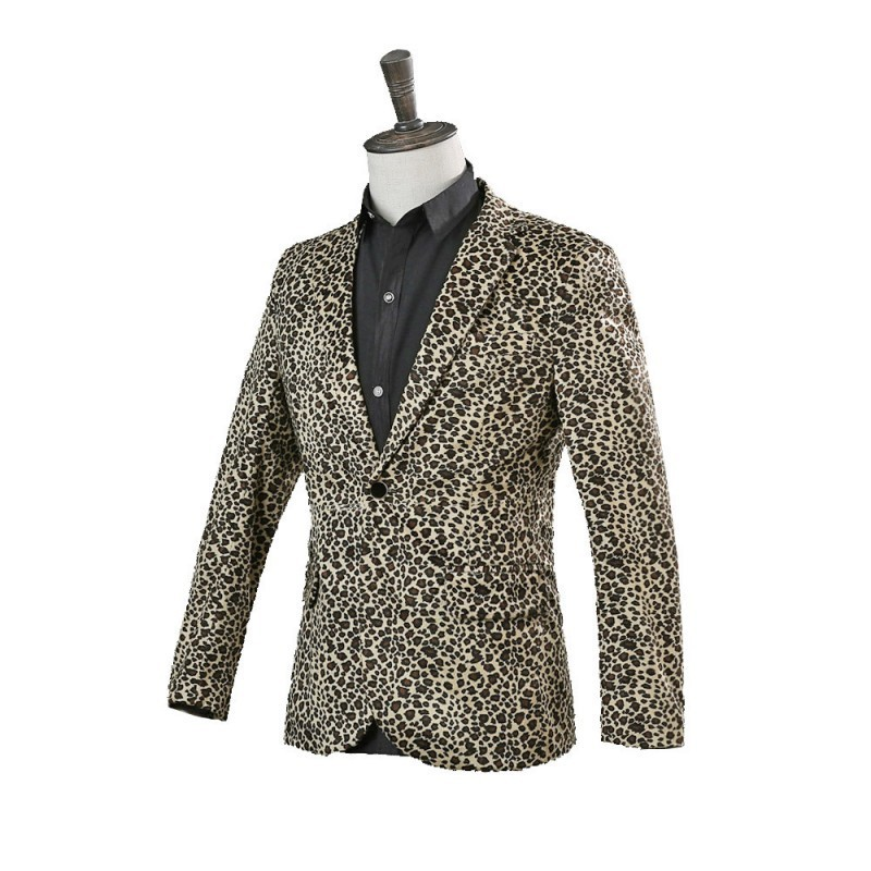 New England Style Men Singers Stage Jacket Nightclub Slim Fit Performances Leopard Print Coat Performing Dresses Costumes S-3XL