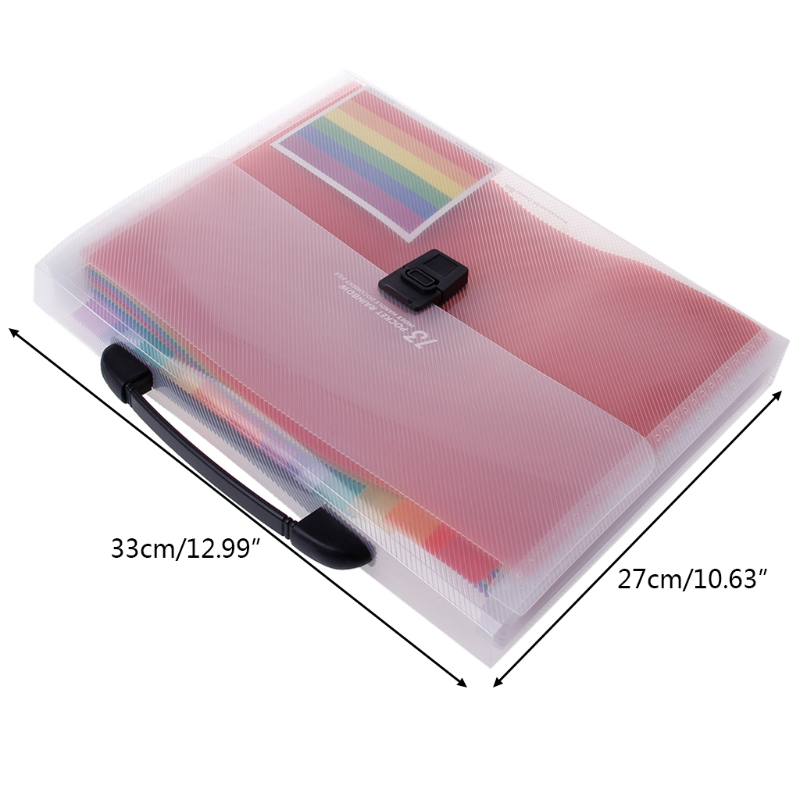 A4 Rainbow Expanding Document Folder 13 Pocket School Portable Accordion Bag