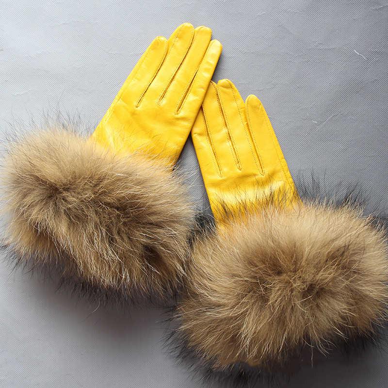 Lg0004 real pele de guaxinim luvas de couro das mulheres grandes pele de guaxinim pele de carneiro luvas de couro genuíno feminino