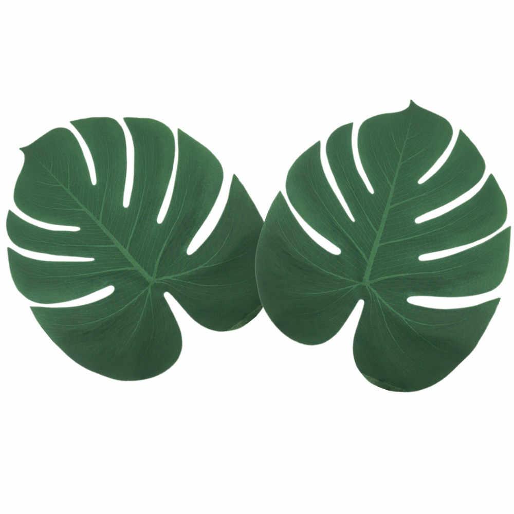 12 stücke Tropical Palm Blätter Pflanze Nachahmung Blatt-Hawaiian/ Luau/Tiki Aloha Dschungel Strand Geburtstag Tisch Dekorationen