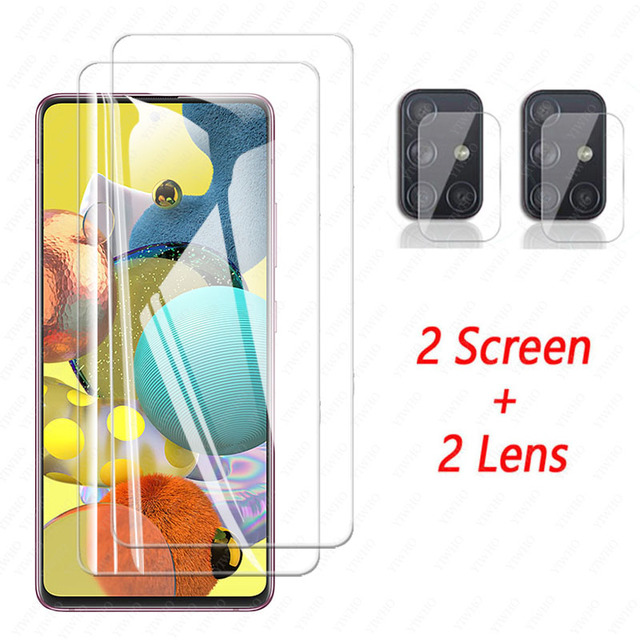 4 In 1 Camera Glass for Samsung Galaxy A51 5G Screen Protector Tempered Glass Samsun A71 A 71 51 A515F A715F Protective Film 3