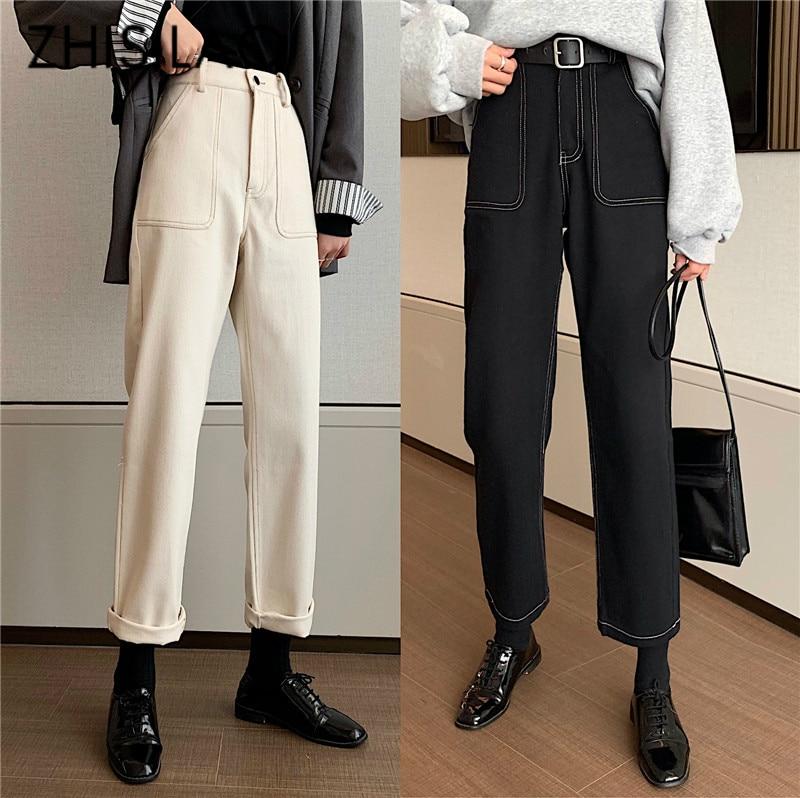 Straight Jeans Women High Waist Black White Jeans Vintage Boyfriend Mom Denim Jeans Pants Femme 2020 Retro Loose Pants