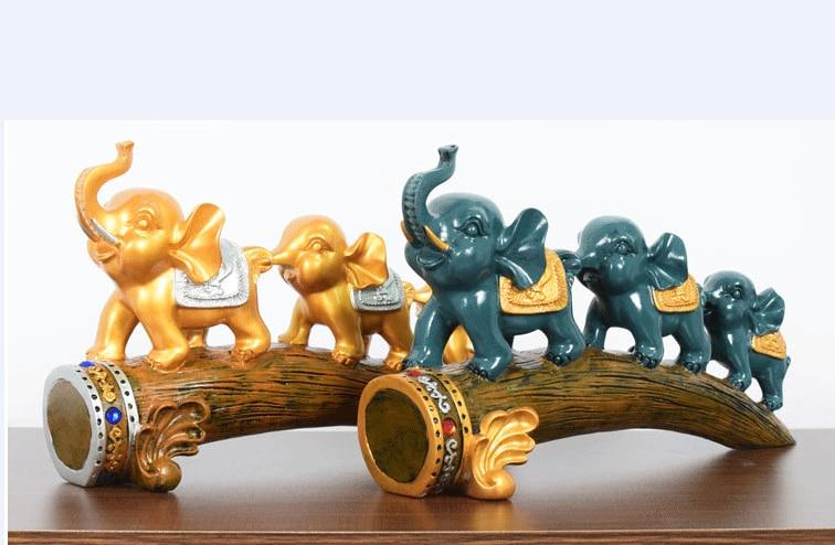 Creative nordic figurine resin craft 33x21cm lucky elephants statue home desk decoration sculpture Ornaments modern gift p0485