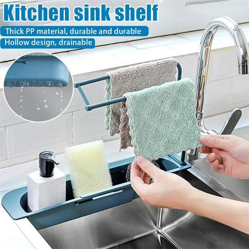 2020 Telescopic Sink Rack Holder Expandable Storage Drain Basket Home Dish Drainer Washing Sink Drying Rack Kitchen Accessories 1