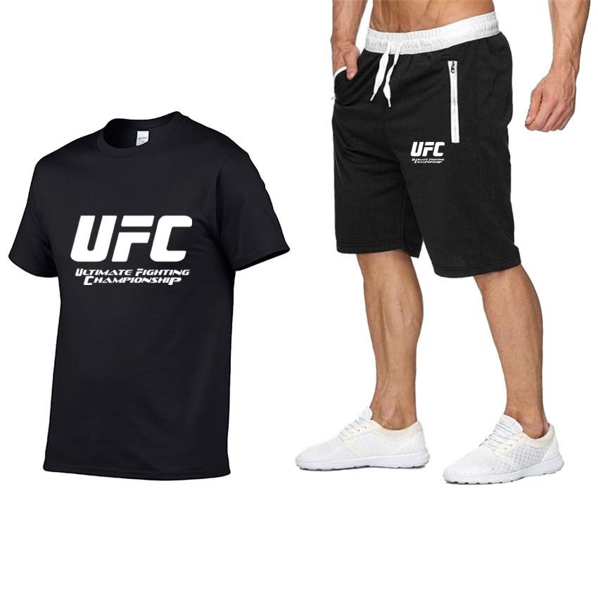 2020 New Men's Pocket Casual Suit Men's Sportswear Fitness Summer Printing Men's T-shirt Shorts Suit Men