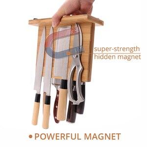 Image 5 - Магнитный держатель для ножей с мощным магнитом, большой бамбуковый деревянный блок для ножей без ножей, двухсторонний Универсальный блок для ножей