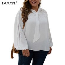 DUUTI Lace Stitching Bow Top Plus Size 4XL Spring Autumn Casual Office Lady Lantern Sleeves Blouse Chiffon OL Shirt D30