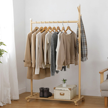 Clothing Rack Steel Rod Hanging Clothes Rolling Garment Rack Organizer Clothes Hanger Shelves Integrated Coat Stand on Wheels