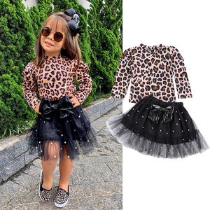 2021 Autumn Fashion Kids Girls Leopard Clothes Sets 2pcs Long Sleeve Pullover T Shirts Tops Pearl Lace Bow Tutu Skirts Outfit