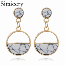 Sitaicery Handmade Fashion Simple Geometric Circular Marble Long Earrings Popular Women Jewelry Christmas Gift