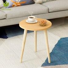 Mesa de té Mrosaa mesa de centro para oficina mesa de centro de madera redonda repisa para revistas mesa pequeña muebles de dormitorio muebles de sala de estar