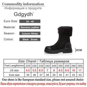 Image 5 - Gdgydh bottes en fourrure naturelle pour femmes, cuir véritable, suède, bonnes chaussures dhiver chaudes, en peluche russe à lintérieur, talon bas, confortables, nouvelle collection