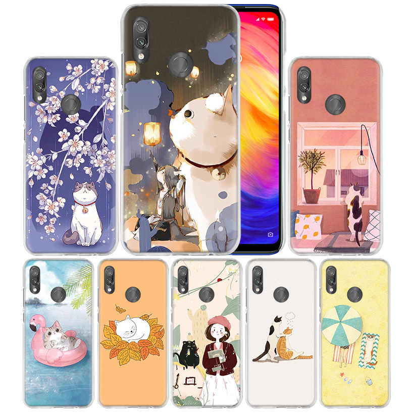 Housse pour Xiao mi rouge mi Note 7 7A 7S 6 6A 5 Y3 K20 mi 8 9T CC9 CC9E A1 A2 A3 Play F1 Lite Pro Plus Kawaii mignon chat kitty