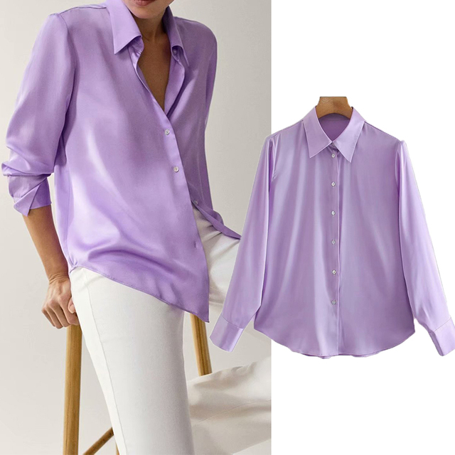 2020 New Fashion Silk Solid color Women Blouses Long Sleeve Turn-down Collar Chiffon Blouse Shirt Casual Tops Loose Work Shirt 1
