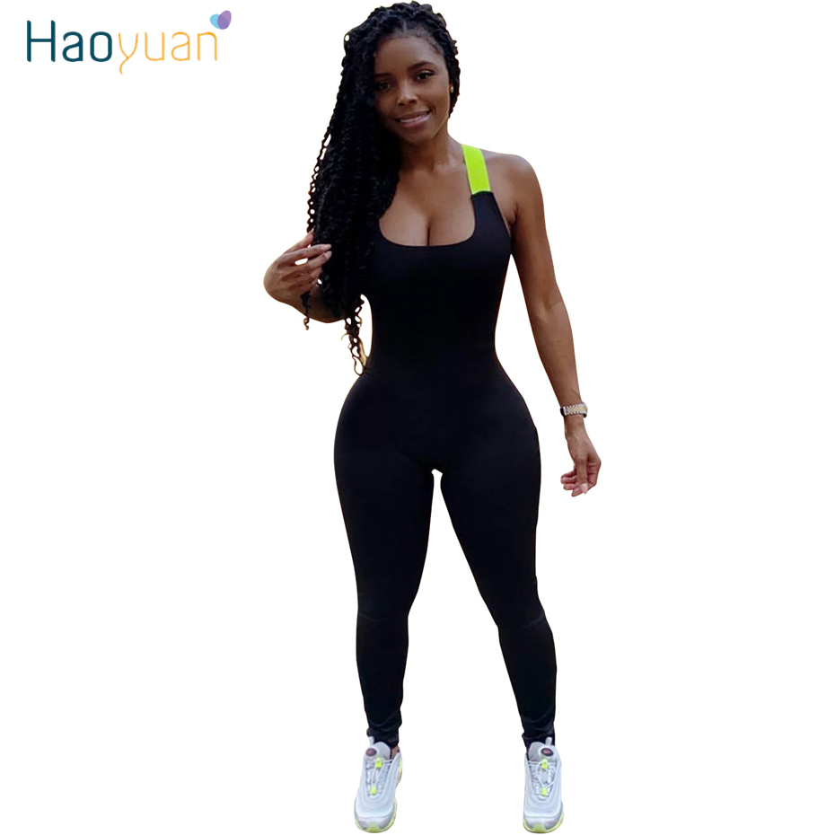 HAOYUAN Sexy Rompers Women Jumpsuit Summer Clother Neon Green Ribbon Cross One Piece Tracksuit Outfits Backless Bodycon Overalls