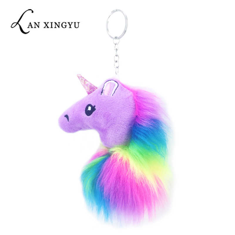 new colored plush unicorn doll hair ball key ring pendant artificial hair lady bag car key for girl gift jewelry accessories