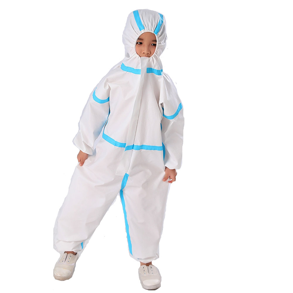Child Protective Clothing Kids Disposable Hazmat Suit White Coveralls Kids Safety Coverall Dust Suit Overall Size S/M/L
