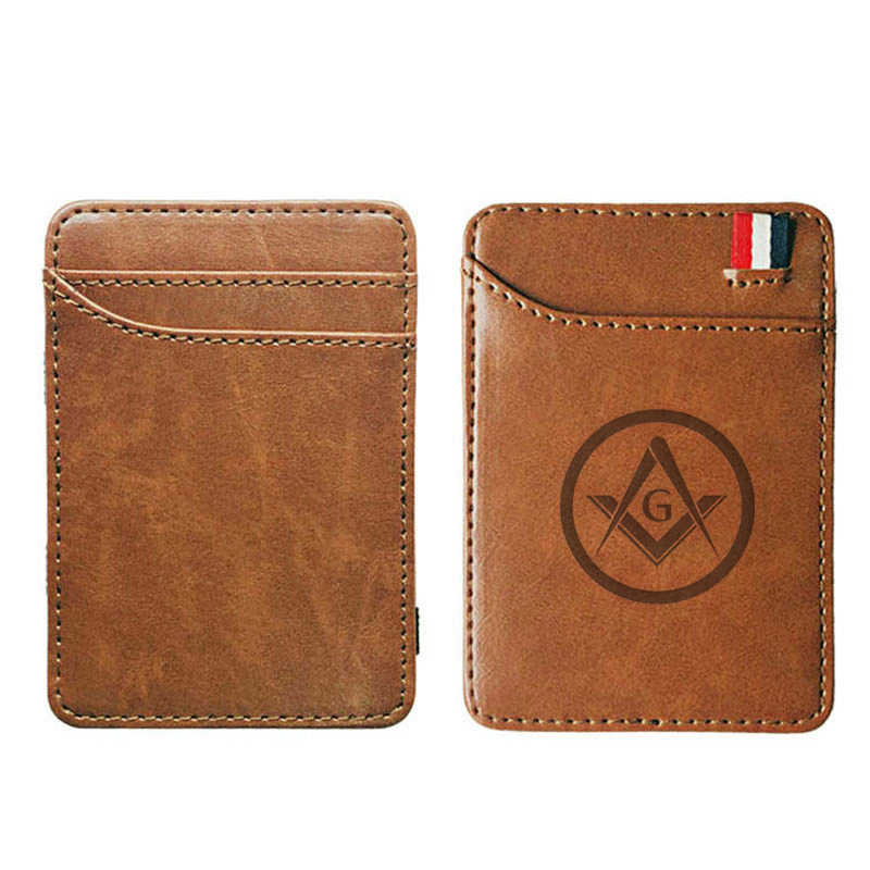 Free And Accepted Masons High Quality Leather Magic Wallets Fashion Men Money Clips Card Purse Cash Holder