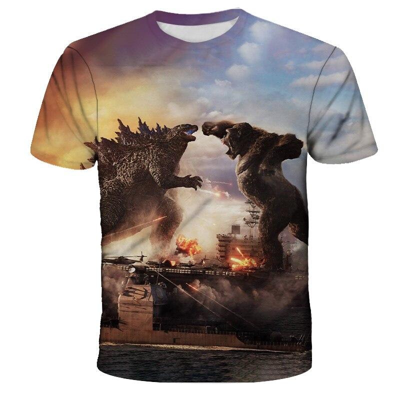 2021 Новый Годзилла-vs-King Kong летняя детская одежда футболки с рисунками из мультфильмов для маленьких мальчиков и девочек Футболка 3D принт инт...