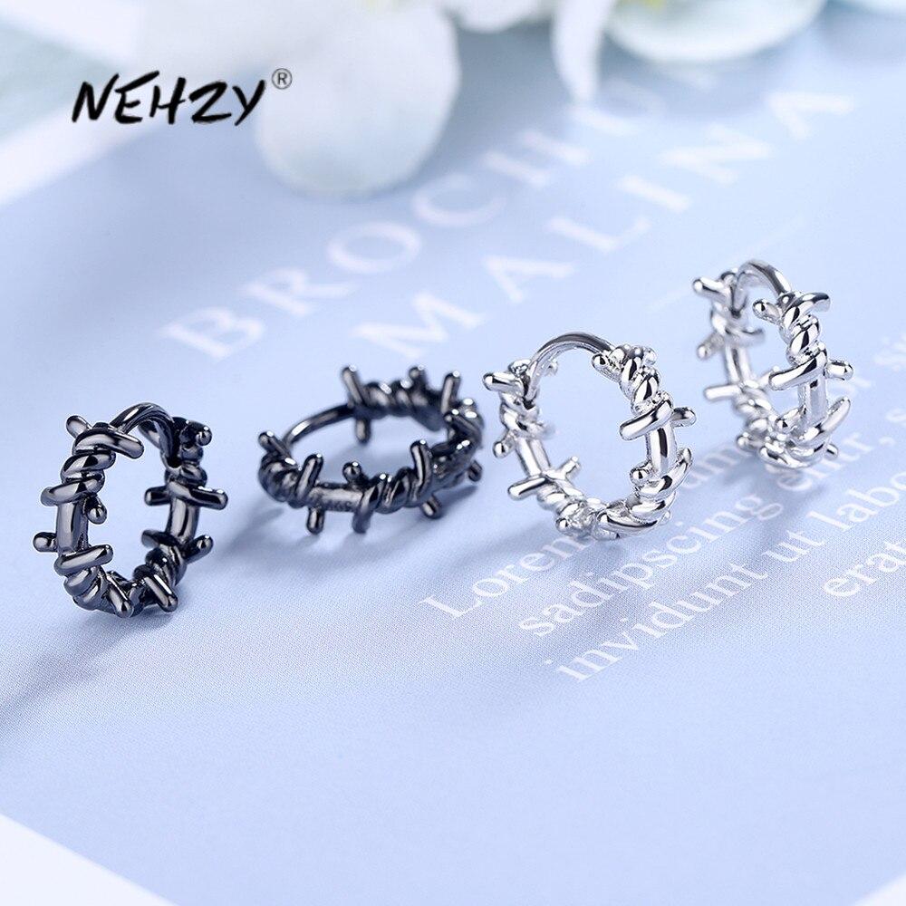 NEHZY 925 en argent Sterling nouvelle femme bijoux de mode de haute qualité noir Thai argent rond boucles d'oreilles Simple rétro boucles d'oreilles