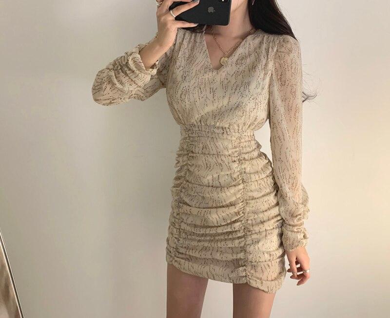 Hc81ce1eb30374bc68346b2720398b9247 - Autumn V-Neck Long Sleeves Chiffon Pleated Floral Print Mini Dress