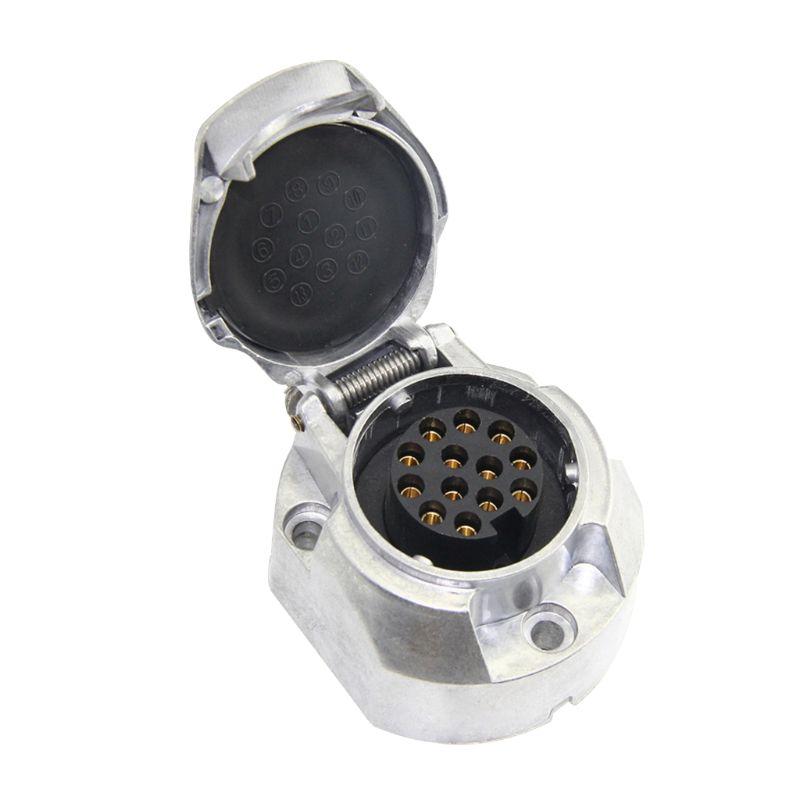 13Pin Metal Trailer Socket Aluminium Alloy 13 Way Lights Connectors Electrics Adapter For Car RV Caravan G6KC