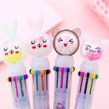 Kawaii Pen Cute Cartoon Cat Ten-color Ballpoint Multi-functional Girls Press Student 10-color Hand Account Color