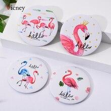 Vicney Flamingo elemanı yaratıcı kadınlar yuvarlak Mini cep makyaj aynası tek taraflı karikatür desenleri kompakt kozmetik aracı seyahat