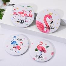 Vicney Flamingo element Creative Women Round Mini Pocket Makeup Mirror Single Side Cartoon Patterns Compact Cosmetic Tool Travel