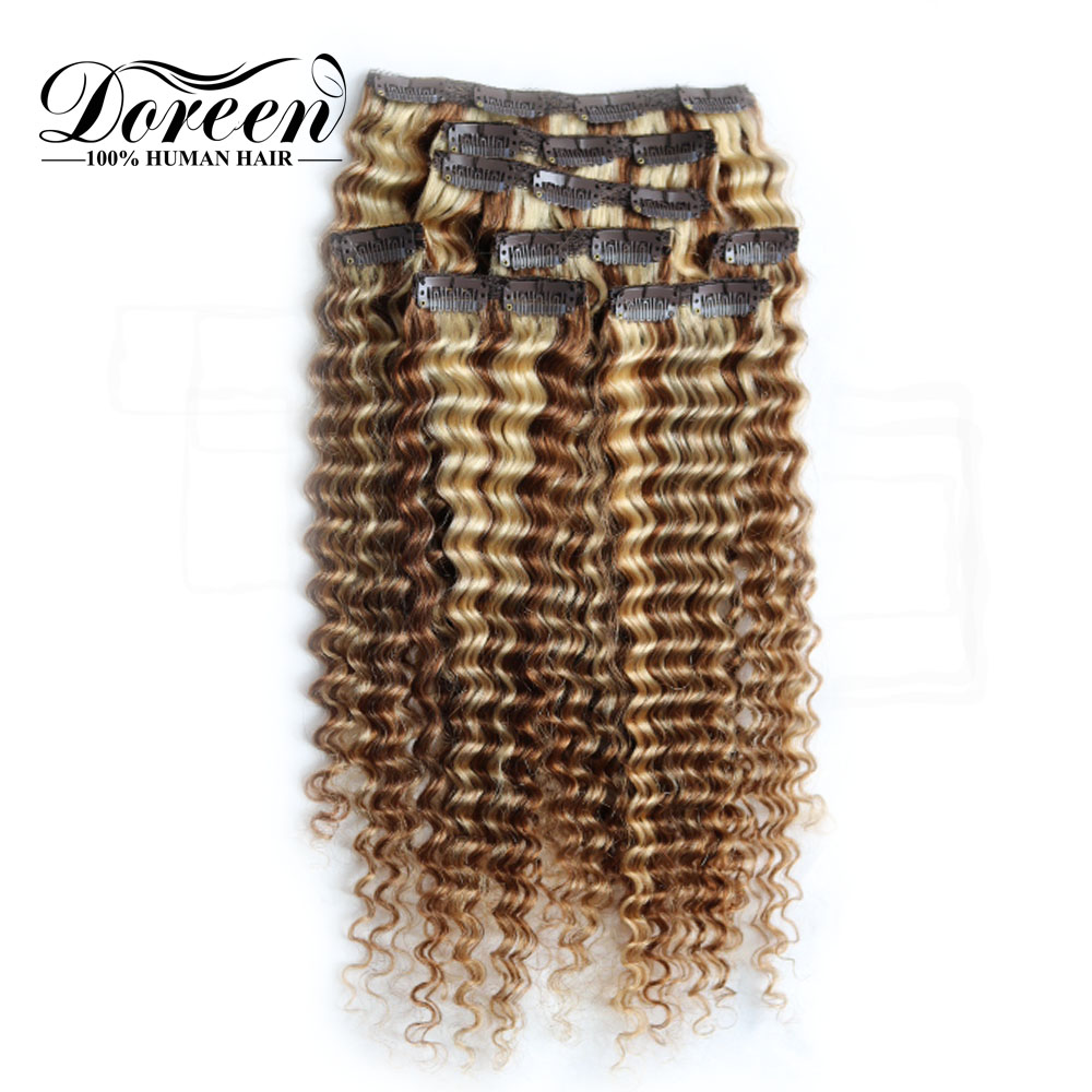 Doreen Machine Made Remy European Hair 120g 160g Balayage Blonde Deep Wave Human Hair Extensions Clip In 8 Pcs/set