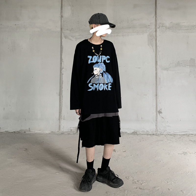 Купить футболка с длинным рукавом и японским аниме принтом харадзюку