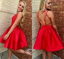 Сексуальная спинки короткие платья выпускного вечера 2020 V-образным вырезом атласная платье для коктейля линии короткие Homecoming платье мини выпускные платья