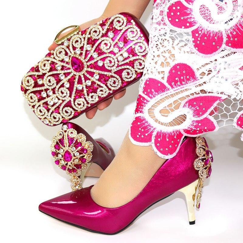 Горячая Распродажа; женские туфли лодочки винного цвета; комплект из сумочки с украшением в виде кристаллов; модельные туфли в африканском ... - 3