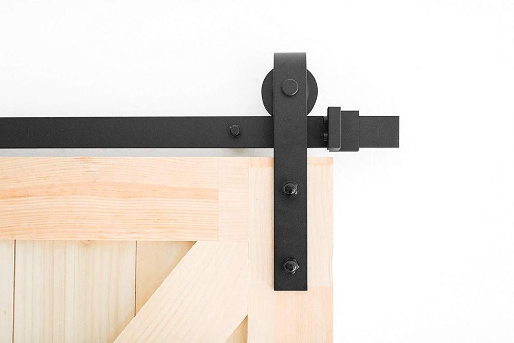 6ft 7ft 8ft 9ft Sliding Barn Door Hardware Kit Top Mounted Hanger Track Black Steel font