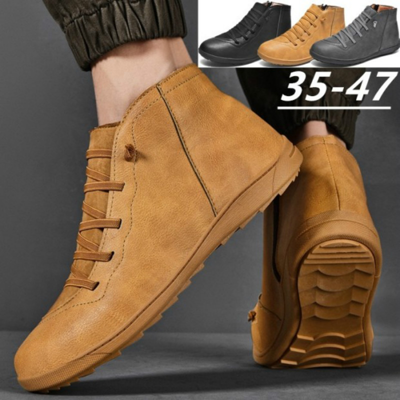Damyuan Men's Casual Shoes Leather Casual Shoes Men's Shoes Warm Winter Comfortable Footwear Outdoor Shoes Plug Size 47