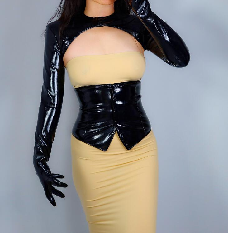 Women's Patent Black Pu Leather Conjoined Jacket Long Gloves Female Ultra Long Fashion Long Leather Party Glove R2666
