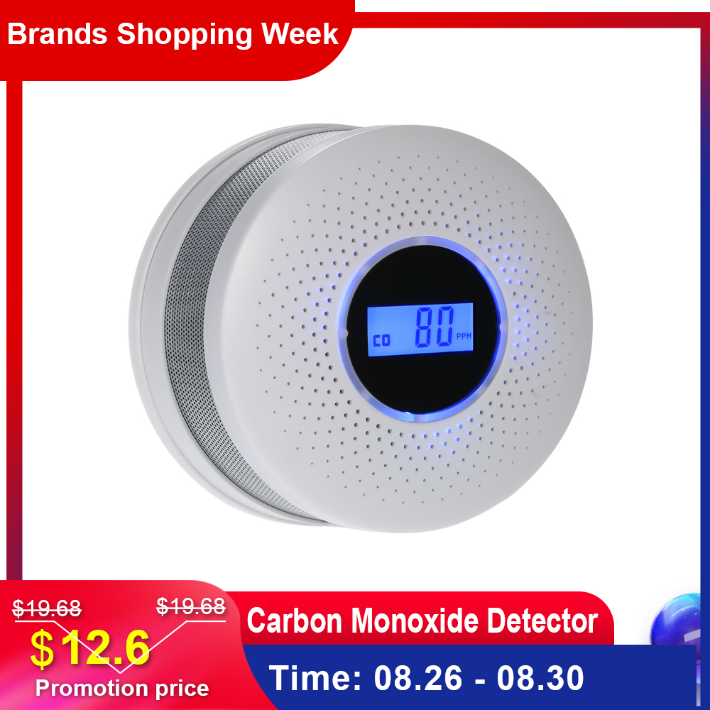 Detector Co-Alarm Lcd-Display Led-Light Battery-Operated Flashing Carbon-Monoxide Sound-Warning