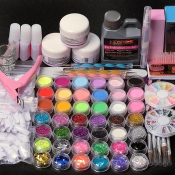 цена на Manicure Acrylic Nail Kit Acrylic Powder 3D Tips Glass Cup Nail Brush Crystal Polymer Nail Art Tools Nail Extension Kit Nail Set
