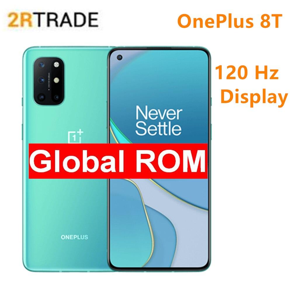 Oneplus 8t 6.55 Polegada 120 hz fluid amoled display snarpdragon 865 5g telefone inteligente 4500mah carga de dobra da bateria 65